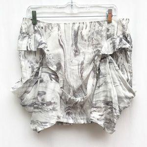 LAMB Gwen Stefani Marble Drape Pocket Mini Skirt